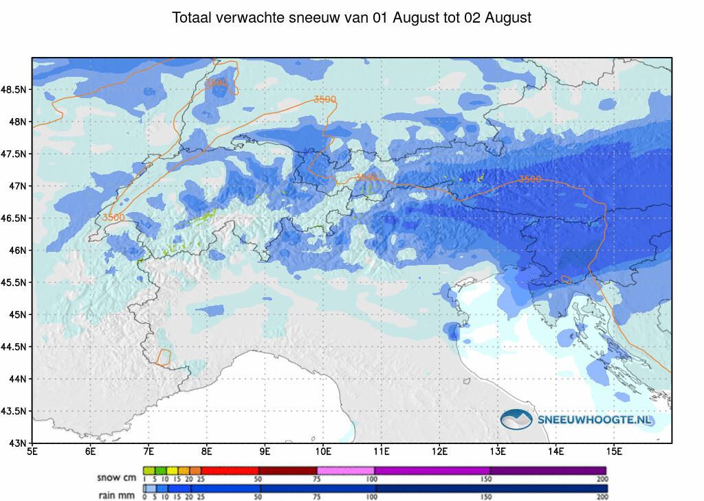 Sneeuwval Alpen komende 24 uur