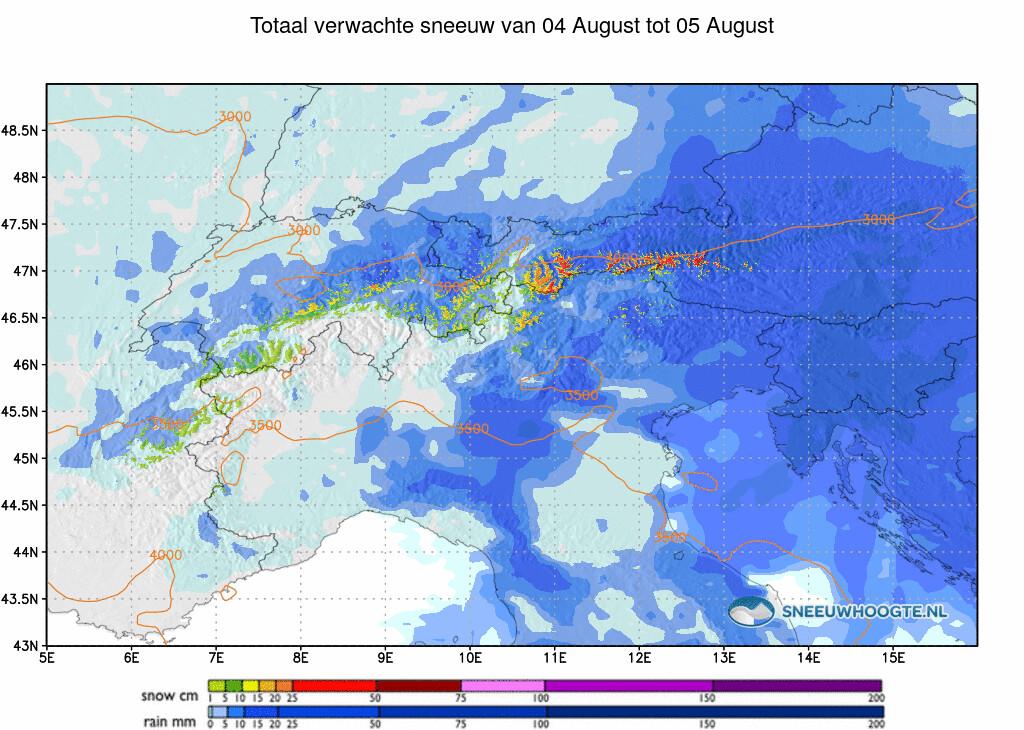 Sneeuwval Alpen komende 48-72 uur