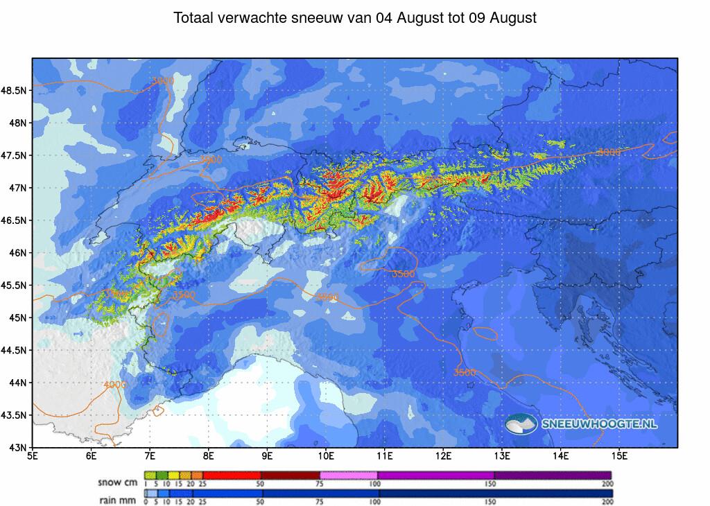 Sneeuwval Alpen komende 5 dagen